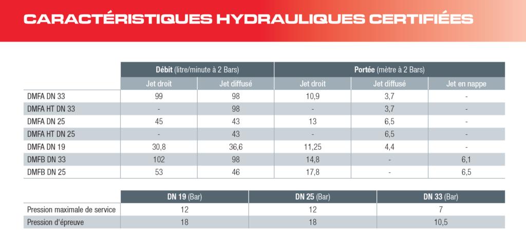 Caractéristiques Hydrauliques des RIA