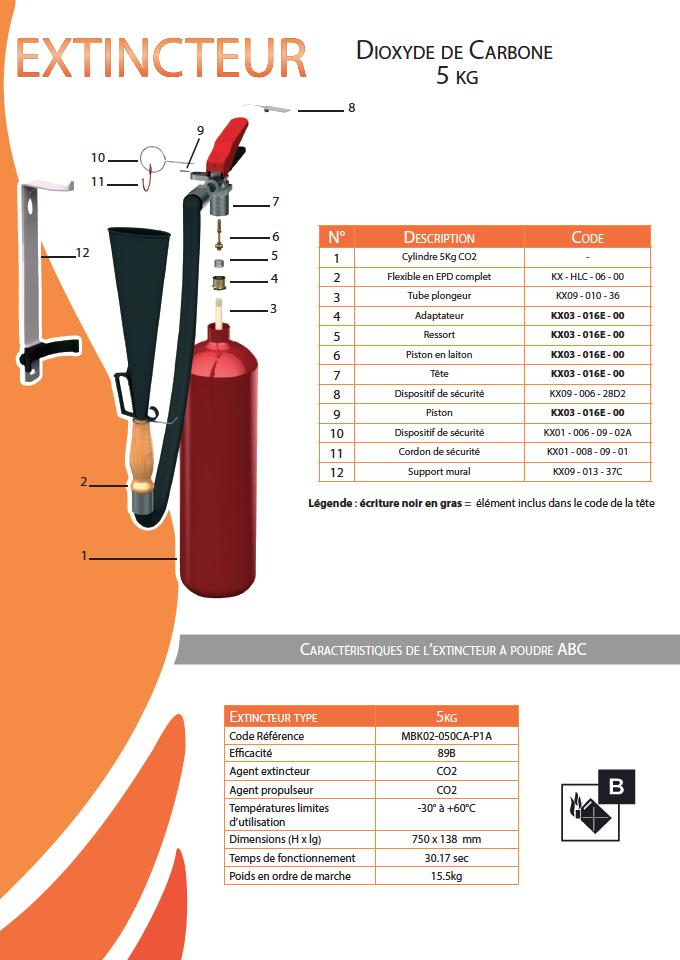 CO2 5KG Classe B/Abry incendie