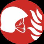 Pictogramme rouge casque pompier